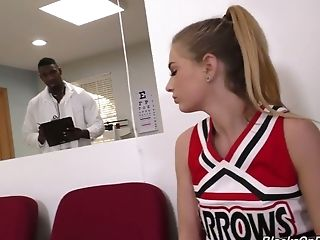 Lewd sporty cheerleader Sydney Cole takes her doctor's BBC in her twat
