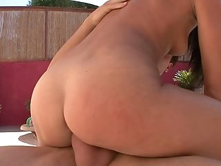 Picked up summer nympho Ava Rose is totally into riding dick on deck chair
