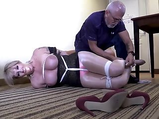 Busty MILF tied and gagged