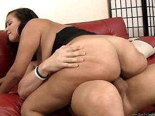 Busty Selena Star enjoys riding a fellow's massive pleasure rod