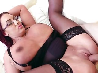 Stunning mom uses son's cock for her own pleasures