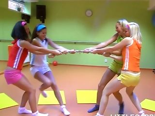 Four naughty sporty girls including Little Caprice wanna be fucked by coach