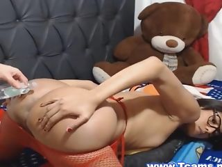 Latina shemale getting a hard fuck from behind with her hunky boy friend.