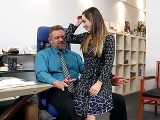 Kinky bossy stud asked that slutty raven haired girlie to suck him off right in the office