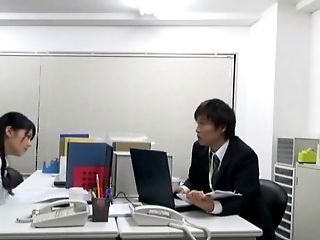 Japanese hottie agrees to get shagged right there in the office