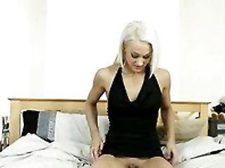 Blond haired whorish hottie in sexy dress Skye Blond performs hot solo in bedroom