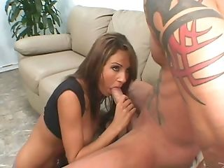 Lovely slut in miniskirt gets cum in mouth after having her anal shoved deep