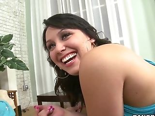 Smiling cutie brunette Bella Foxx gently devours my dick with pleasure
