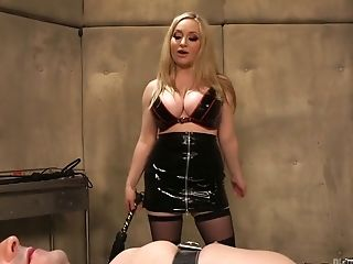 Gorgeous mistress wearing strapon Aiden Starr fucks anal hole of one dude