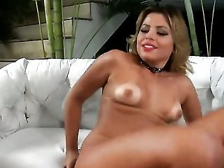 Blonde Pandora Pantera has fire in her eyes as she masturbates anally