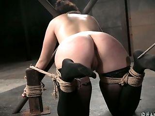 Harshly bound European filth Piper Rage had nasty BDSM fuck with black geek