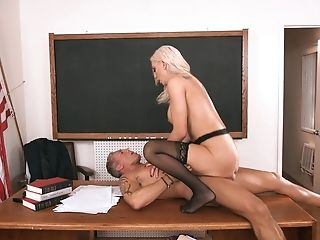 Sexy MILF professor ends up having sex with her colleague