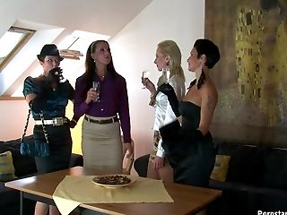 Attractive chics seducing their cook to fucking them in a gourmet piss bang.