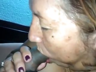 Sexy granny masturbates and gives me some really good blowjob