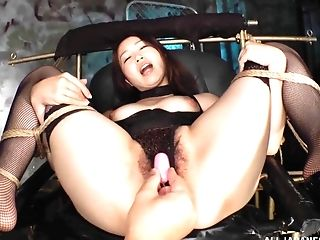 Asian slut Tamari You tied up and pleasured with lot of sex toys