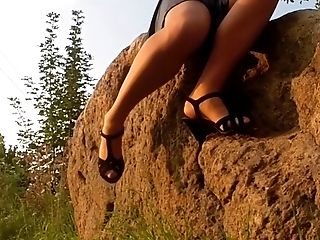 Feet, HD, Ladyboy, Legs, Lingerie, Nature, Outdoor, POV, Stockings,