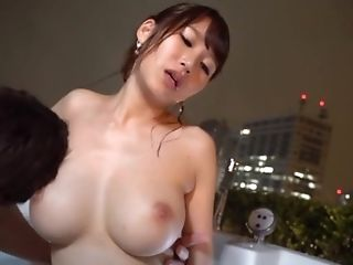 Natural tits Mihara giving dick blowjob in the bath tab
