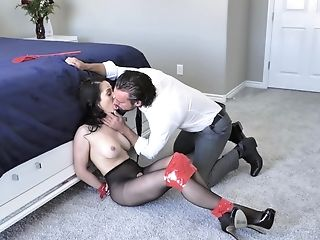 Passionate fucking with tied up trophy wife Crystal Rush in high heels