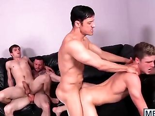 Four adorable handsome dudes having wild gay orgy in a hotel