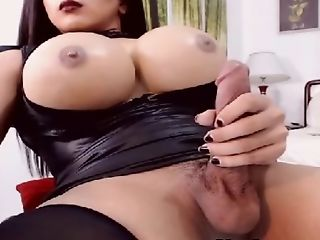 Huge Tits Shemale Makes Her Dick Pleasure