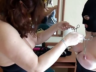 Session with mistress: playing with nipples