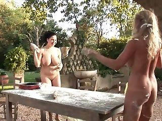 Shione Cooper and her busty friend aren't good at cooking but good at teasing cunts