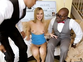 Hot blonde winner Jillian Janson fucks two black dudes