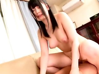 Hardcore blowjob and cock riding with a brunette Japanese MILF babe