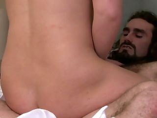 Buxom and bootyful blonde shemale Aspen Brooks is anal banged doggy