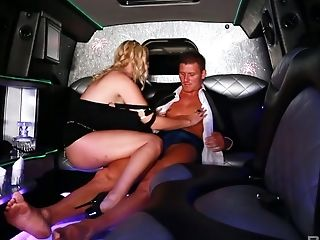 Whorish blonde Shay Hendrix is serving her client in the limo