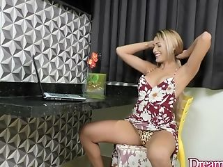 Beautiful Tgirl Bella Atrix Wanks Her Hard Cock in Front of a Webcam