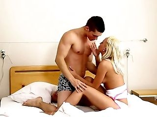 Sweet petite blonde Naomi Nevena had steamy oral sex with her BF in bed