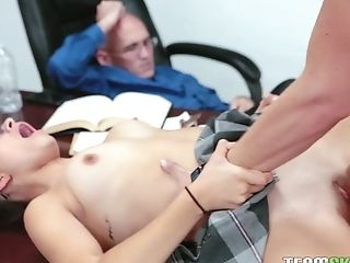 Good girl Izzy Bell is fucked hard right in front of her sleeping teacher