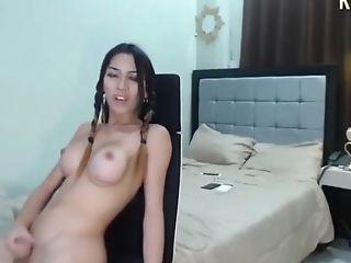Slender Filipina Trans Slut With Big Boobs Masturbates On Webcam
